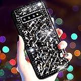 Kompatibel für Samsung Galaxy S10 Hülle mit Glitzer,QPOLLY Bling Glänzend Diamant Strass Kristall Steine Schutzhülle für Frauen Mädchen Silikon PC Hardcase Handyhülle Tasche Case,Schwarz