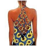 2021 Nuevo Camisetas Mujer Bohemio Verano Cuello Cabestro Playa Fiesta Floral Vendaje Malla Escotado por Detrás Originales Camisetas S-XXXL