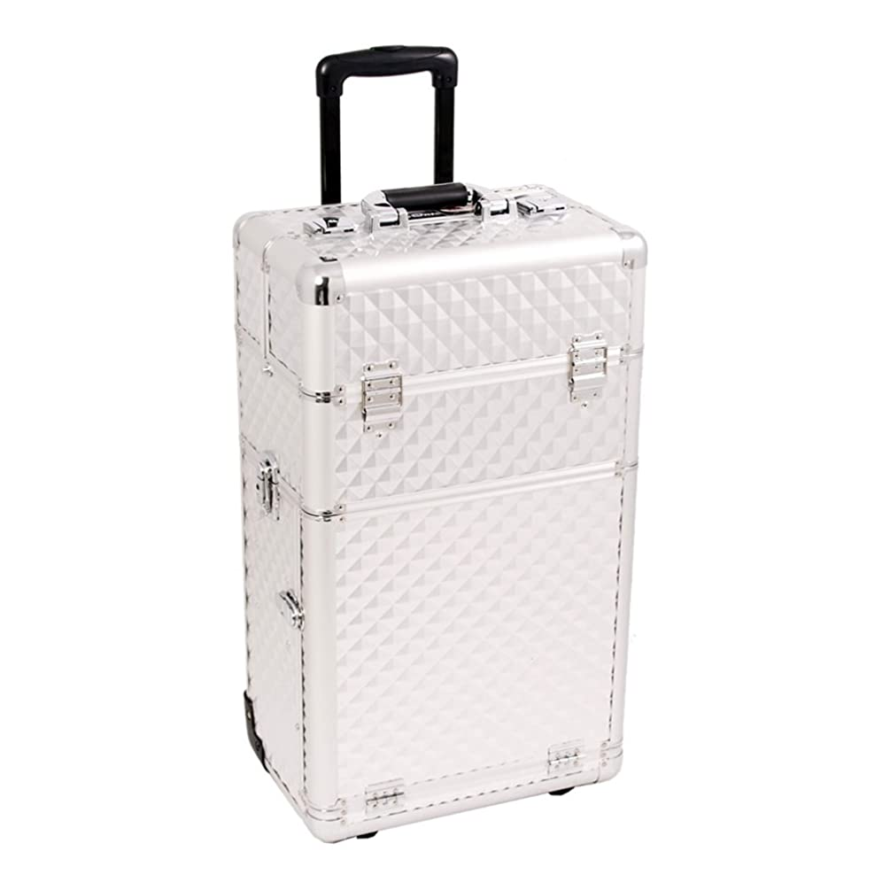 Craft Accents I3163 Diamond Trolley Craft/Quilting Storage Case, Silver