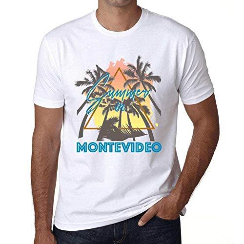 Hombre Camiseta Vintage T-Shirt Gráfico Summer Triangle Montevideo Blanco
