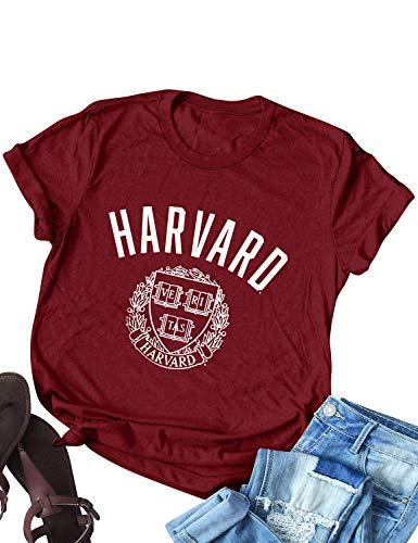 FromNlife Frauen Damen Harvard Buchstabe Grafikdruck Kurzarm T-Shirt mit Rundhalsausschnitt Tees Bluse Tops Shirts