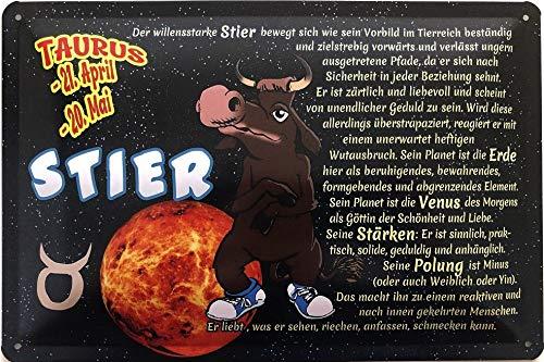 Deko7 blikken bord 30 x 20 cm Taurus 21 april - 20 mei - sterrenbeeld Stier