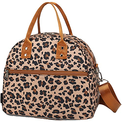 FlowFly Insulated Lunch Bag With Shoulder Strap for Women, Men, and Kids, Large and Reusable, Handle, Freezable Work and School Travel Tote and Meal Prep Organizer,Leopard