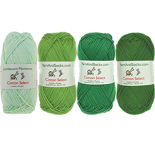 Cotton Select Sport Weight Yarn Color Palette Pack - 100% Fine Cotton - Shades of Green - 4 Skeins