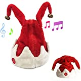 MUVBUR Christmas Singing Dancing Santa Hat Red Santa Cap with Plush Trim