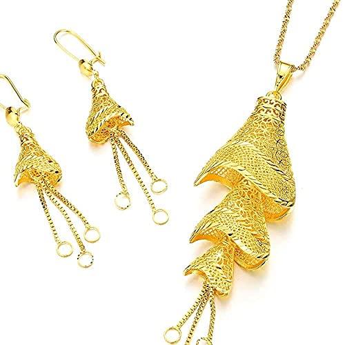 chaosong shop Africano colgante ec-es pendientes para mujer color oro Fulani etíope fiesta conjunto de joyas