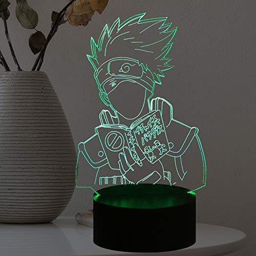Naruto Light Hatake Kakashi Sasuke Cartoon Nachtlampe 3D Optische Täuschung Japanisches Anime-Thema 7 Farben USB Change, Manga LED Tischlampe Blitzlampe Mood Lamp Lava