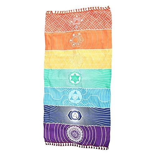 OocciShopp Tapiz, Meditación Yoga Alfombra Toallas México Chakras Borla Alfombra de Piso a Rayas Tapiz de Borla 150 cm * 70 cm Colorido (Colorido)