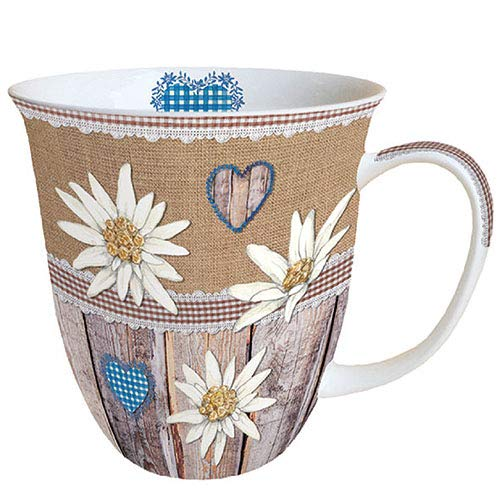 Ambiente Becher - Mug - Tasse - Tee/Kaffee Becher ca. 400ml Edelweiss On Wood