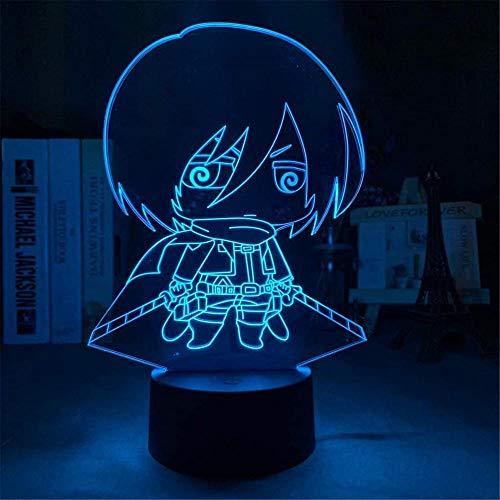 Mikasa Ackerman - Lámpara LED 3D de noche, lámpara de ilusión óptica, 16 colores cambiantes, lámpara de escritorio para niños, Navidad, cumpleaños, decoración del hogar