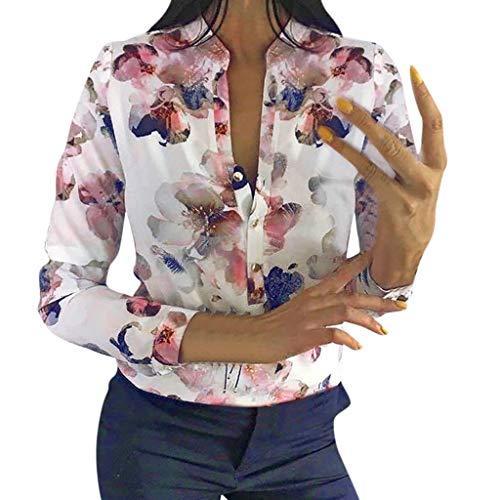 LIMITA Damen Sommer Langarm Shirts Tops V-Ausschnitt Mit Knöpfen Blusen Beiläufige lose Hemden-Oberseiten drucken 2019 Neu