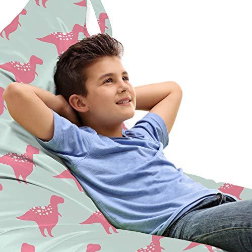 ABAKUHAUS Dinosaur Zitzak, Kinderachtig Trex Pattern, Veel Ruimte om Zacht Speelgoed als Knuffels in op te Bergen, met Handvat, Pastel Pink Mint Green