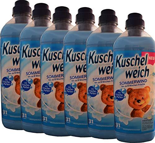 6x Kuschelweich Sommerwind je 1l Flasche mit Frische-Perlen je 31 Wäschen