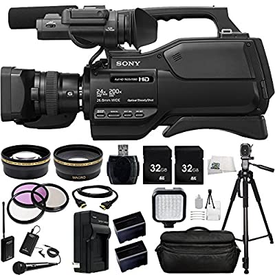 Sony HXR-MC2500 HXRMC2500 Shoulder Mount AVCHD Camcorder with 3-Inch LCD (Black) + Audio-Technica ATR288W VHF TwinMic System.43x Wide Angle Lens, 2.2X Telephoto Lens + More by SSE