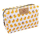 Cute Travel Makeup Pouch Cartoon Printed Toiletry Cosmetic Bag for Girls, Women (Yellow duck)