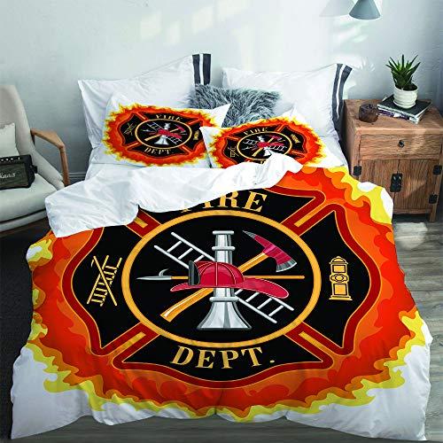 PANILUR Mikrofaser Bettwäsche 220x240cm,Feuerwehr Symbol mit Leiter Öffentlicher Dienst Grundlegende Werkzeuge von Feuerwehrleuten,mit Reißverschluss Bettbezug 2 Kissenbezug 50x80cm