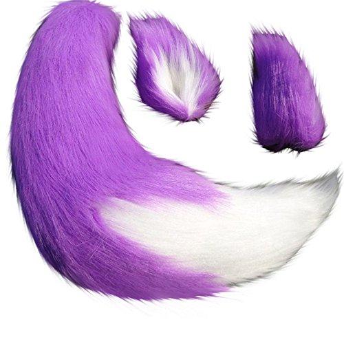 "Shopular Anime Spice and Wolf Holo Kamisama Kiss Fox/Cat Plush Tail Ears Prop Cosplay (Purple), 25"""