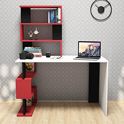 Homemania Scrivania Snap, Legno, Bianco-Rosso-Nero, 120x60x148,2 cm