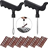 32 Pieces Tubeless Tire Repair Kit Tools Auto Tire Plug Kit with Car Tire Repair Strings Rubber Strips Plug Tool for Car, Truck, RV, SUV, ATV, Motorcycle, Tractor, Trailer Punctures Repair