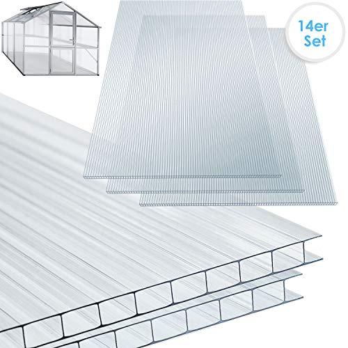 KESSER 14x Polycarbonat Hohlkammerstegplatten 4mm | 10,25 m² Doppelstegplatte - 1210x605 | Stegplatte Gewächshausplatte | stoßsicheren und UV-beständigen | Für...
