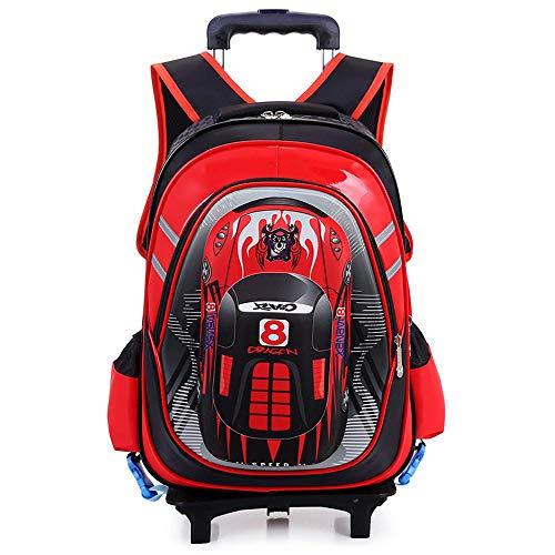 QWEIAS Mochila para niños Trolley Bag - Car 3D Mochila Escolar para niños y niñas - Mochila para niños Mochila con Ruedas con Mango telescópico y Ruedas de 2/6 Red-2 Rounds