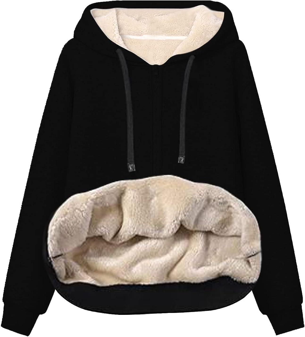 Xishiloft Womens Winter Warm Fleece Sherpa Lined Hoodies Casual Zip Up Hoodie Tops