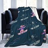 wobuzhidaoshamingzi Chica Montando una Tabla de Snow Fleece de Franela Ultra Suave Todas Las Estaciones Peso Ligero Sala de Estar/Dormitorio Manta cálida
