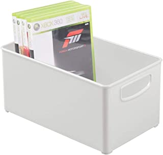 mDesign Plastic Stackable Household Storage Organizer Container Bin Box with Handles - for Media Consoles, Closets, Cabinets - Holds DVD's, Video Games, Gaming Accessories, Head Sets - Light Gray