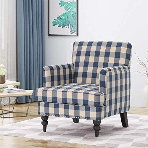Christopher Knight Home Evete Tufted Fabric Club Chair, Blue Checkerboard, Dark Brown