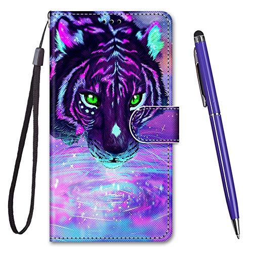 TOUCASA für Galaxy J2 Core Hülle, Handyhülle für Galaxy J2 Core,Premium Brieftasche PU Leder Flip [Kreativ Gemalt] Hülle Handytasche Klapphülle für Samsung Galaxy J2 Core (Lila Tiger)