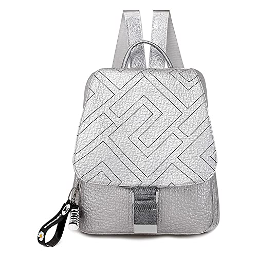 TEBIEAI Women's Backpack Handbags Ladies Rucksack Shoulder Bags PU Leather Mini Anti-theft Dayback TEUK83066 Silver