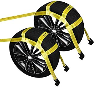 """JCHL Tow Dolly Basket Straps with Flat Hooks (2 Pack) Yellow Car Wheel Straps Universal Vehicle Tow Dolly Straps System Fits 15""""-19"""" Tires Wheels 10000 lbs Working Capacity"""
