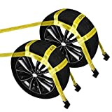 JCHL Tow Dolly Basket Straps with Flat Hooks (2 Pack) Yellow Car Wheel Straps Universal Vehicle Tow Dolly Straps System Fits 15'-19' Tires Wheels 10000 lbs Working Capacity