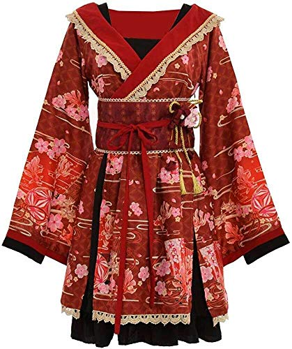 Double Villages Japanischen Stil Kimono Bademantel Kleid Anime Cosplay Yukata Serie Japanischen Sommer Nette Mädchen Anime Cosplay Kostüme (Rot, S)