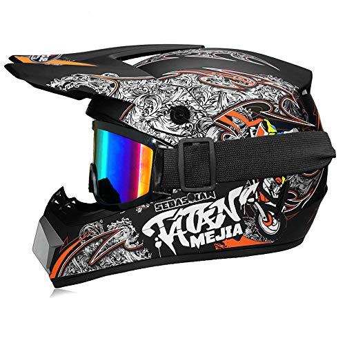 Fengcheng Motocross Helm, Motorrad-Helm für Kinder, Motocross Cross, MX Helm, Helm für Erwachsene, mit Brille, Motorradmaske, Motorradhelm Unisex
