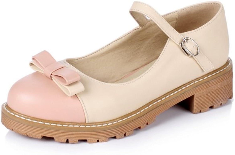 BalaMasa Womens Bows Buckle Square Heels Platform Urethane Pumps shoes