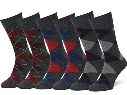 Easton Marlowe Classic Argyle Herren Business Socken - 6pk 2-8, Holzkohle und Rot/Blau - 43-46 EU Schuhgröße