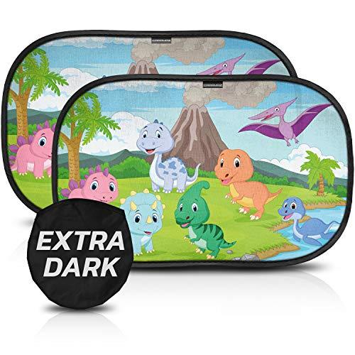 Parasol Coche con protección UV certificada Extra Oscura - Autoadhesivo, para Proteger del Sol a bebés y Mascotas, 2 parasoles para bebé con diseño de diono M/L de 51x31 cm