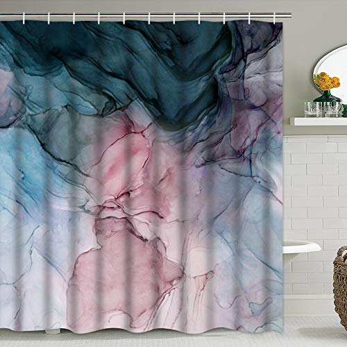 """Pknoclan Ink Texture Abstract Bathroom Shower Curtain, Modern Art Bath Curtain with 12 Hooks, Waterproof Fabric Shower Curtain for Bathroom, 69"""" x 70"""" inch"""