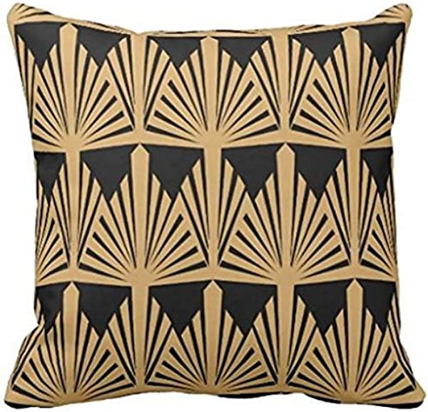 Sprinte Gold And Black Art Deco Pattern Throw Pillow Case 1616