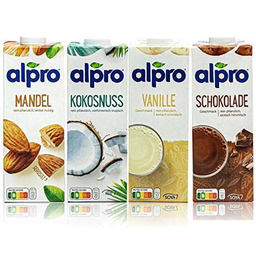 Alpro - 4er Probierset: Mandel, Kokosnuss, Vanille und Schoko Drink á 1 Liter - 100 % pflanzlich