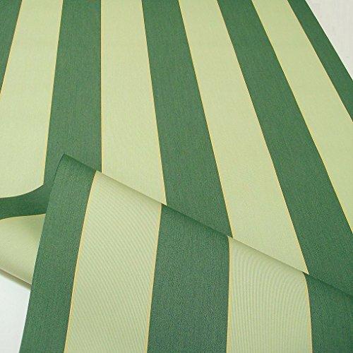 TOLKO Sonnenschutz Markisen-Stoffe als Meterware Zum Nähen mit UV-Schutz 50+ | Wasserdicht, Extra Langlebig - Ohne Ausbleichen (Dunkel Grün Lind Gestreift)