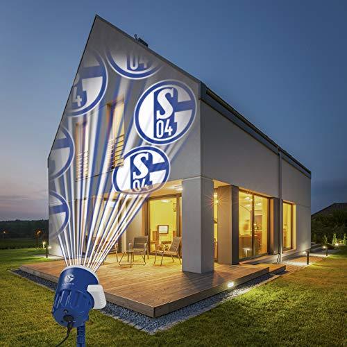 Schalke 04 Schalke Logo Projektor Fanartikel   LED-Motivstrahler S04-Logo   Beleuchtung Supporter (Blau/Weiß)