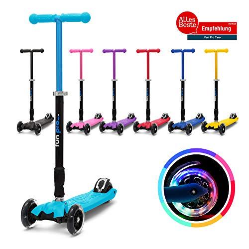 fun pro Two - ab etwa 5 Jahre, bis 80KG Gewicht, der sichere Premium Kinder Roller, LED Räder, faltbar, (Kickboard, Tretroller), TÜV geprüft (blau)