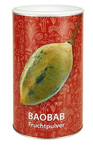 Reines Bio Baobab Pulver - 350 Gramm Baobab-Pulver in der Dose - 100% Fruchtpulver