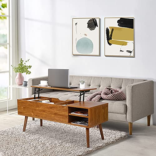 Modern Lift Top Coffee Table - Easy to Lift Up and Close, with Ample Hidden Compartments and Adjustable Storage Shelf, Coffee Table with Lift Top for Living Room.