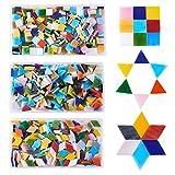 PandaHall Ca. 600g Mosaikfliesen Glascabochons für Heimtextilien Bastelbedarf (Dreieck, Quadrat,...