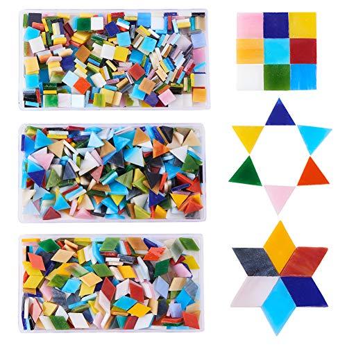 PandaHall Ca. 600g Mosaikfliesen Glascabochons für Heimtextilien Bastelbedarf (Dreieck, Quadrat, Rauten)