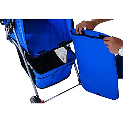 PawHut Pet Travel Stroller Cat Dog Pushchair Trolley Puppy Jogger Carrier Three Wheels (Blue) 8