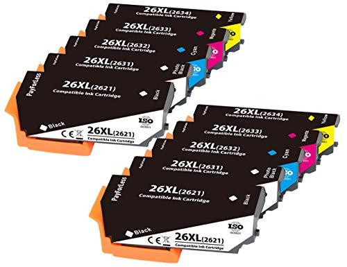 PayForLess 26XL Cartuchos de Tinta Compatible para Epson Expression Premium XP-620 XP-520 XP-610 XP-605 XP-510 XP-800 XP-600 XP-615 XP-700 XP-710 XP-720 XP-810 XP-820 XP-625(10 Paquete)